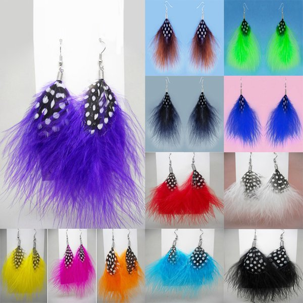 Downy Feather Earrings 12 Colors wholesale lots Cute Charm Simple Light Dangle Eardrop (Navy Brown Blue Green White Yellow Black Red)(JF289)