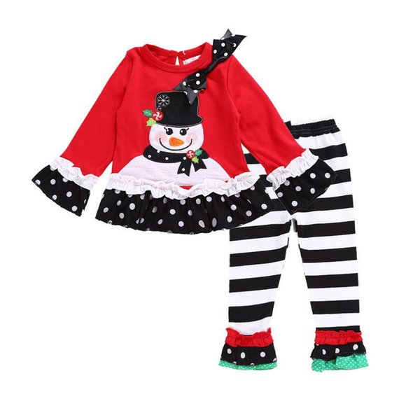 baby girl Christmas snowman outfit children kids Red Cartoon long sleeve tops+ pants 2 pcs girl Clothes Sets