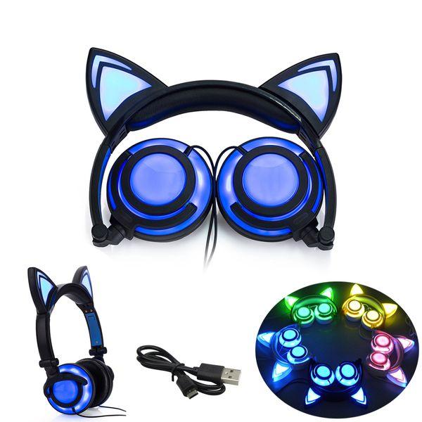 Faltbarer Katzen-Ohrkopfhörer Gaming-Kopfhörer-Kopfhörer mit glühendem LED-Licht für Computer PC Laptop-Handygeschenk für Mädchenkinder