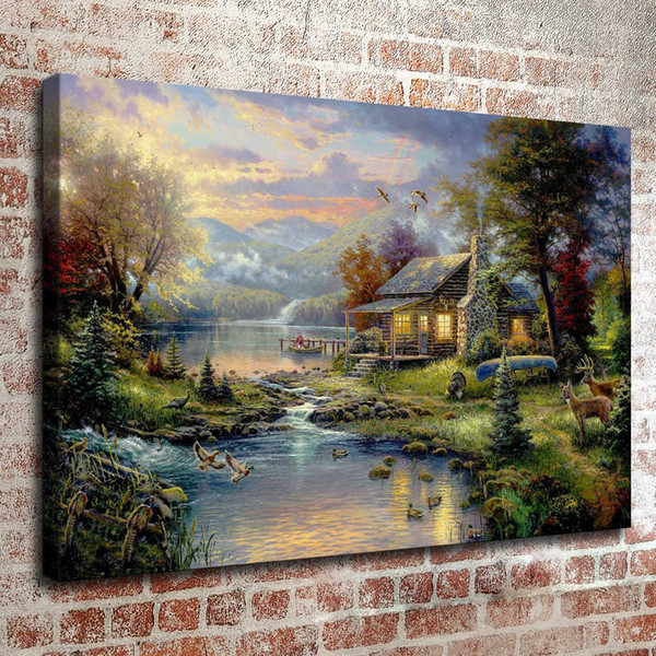 top popular Thomas Kinkade Oil Painting Landscape Rural cottage series 3 picture Art HD Canvas print Wall Art Pictures Home Decor Living Room Decoration 2019