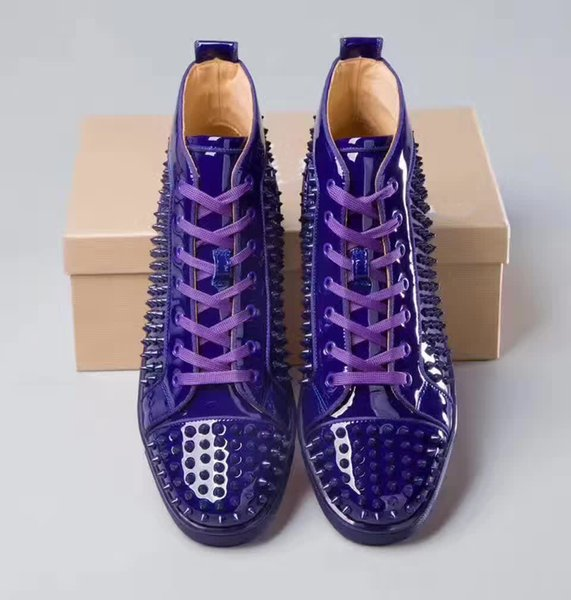 newest 7a0c2 bdbf2 High Quality Red Bottom Sneakers Shoes Purple Patent Leather Spikes  Women,Men Trainer Luxurious Flats With Outdoor Casual Shoes Size 36 47 W  Munro ...