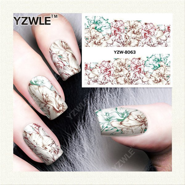 Wholesale Yzwle 1 Sheet Diy Nails Art Decals Water Transfer Printing