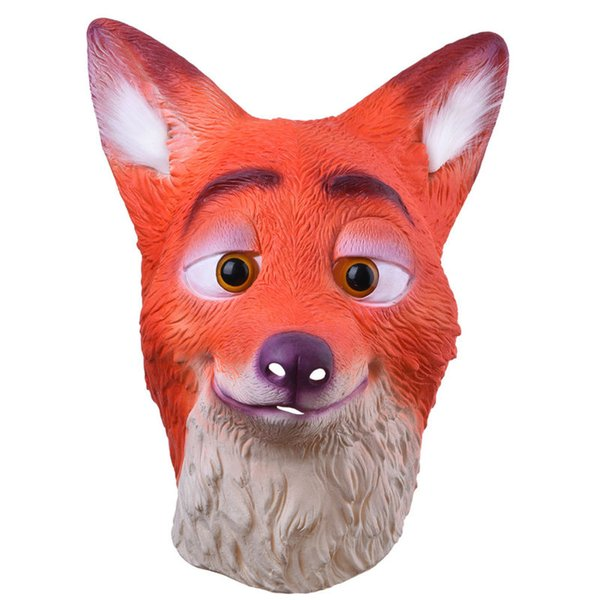Full Head Adult Mask Fox Head Mask Funny Nick Fox Latex Breathable Realistic Crazy Rubber Party Cosplay Halloween Mask