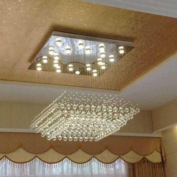 Luz de techo de cristal circular de lujo grande con bombillas LED Iluminación de interior interior creativa simple moderna para el vestíbulo