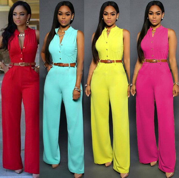 Wholesale- #0829 2017 With belt Candy color Overalls for women Sexy Rompers womens jumpsuit Summer Women jumpers and rompers Long Beyonce