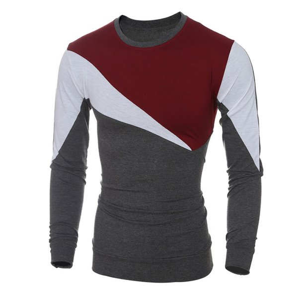 Fashion Men's T Shirt Casual Patchwork long Sleeve T Shirt Mens Clothing Trend Casual Slim Fit Hip-Hop Top Tees