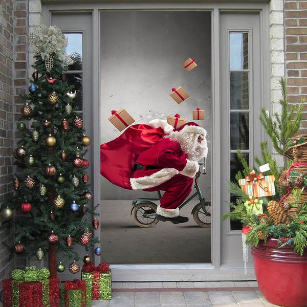 Merry Christmas Santa Claus Door Stickers Cute Wall Art Removable Home Window Wall Stickers Decal Party Decor Stickers For Door