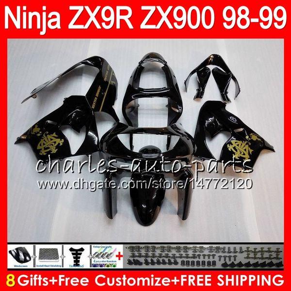 8Gifts 23Colors Pour KAWASAKI NINJA ZX 9 R ZX9R 98 99 00 01 900CC Golden noir 48HM1 ZX 9R ZX900 ZX900C ZX-9R 1998 1999 2000 2001 Kit de carénage