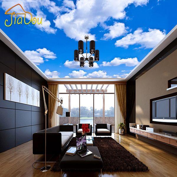 Vente en gros - Papier peint au plafond bleu ciel et nuages blancs peintures murales pour le salon chambre plafond fond d'écran mural papier peint