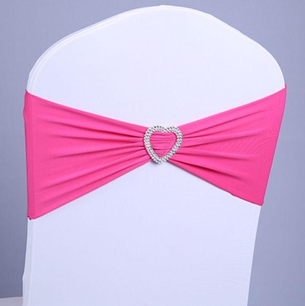 Free EMS DHL 100pcs Heart Ornament Elastic Wedding Chair Cover Sashes Sash Party Banquet Decoration Decor Bow Colours