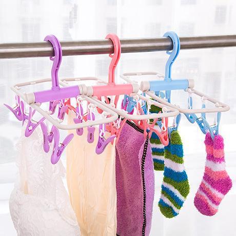 Hot Sales ! Foldable Clothes Hanger Plastic Laundry Rack Portable Underwear Clip Wardrobe Hanging Storage Rack 3 Colors