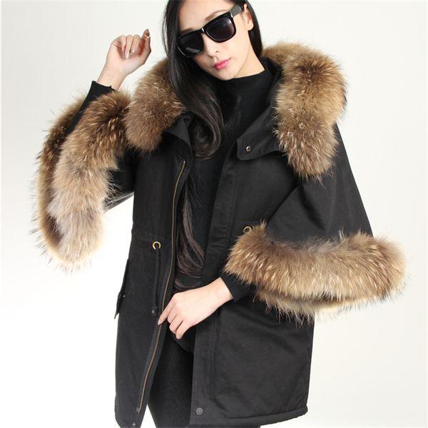 2017 new Casual black real fur coat winter jacket women Flare Sleeve parkas big natural raccoon fur collar hooded warm outerwear