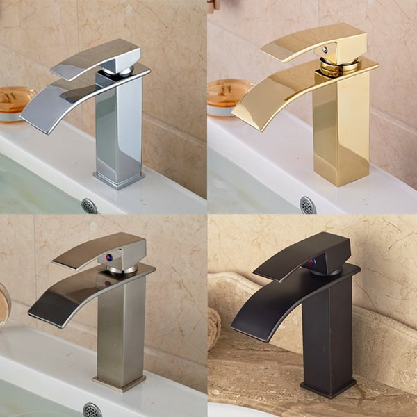 Wholesale- Chrome/Golden/ORB/Brushed Nickel Basin Sink Faucet Waterfall Brass Hot Cold Water Kitchen Mixer Taps One Hole