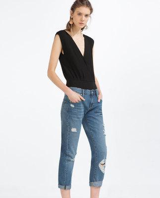 women vintage holes Ripped jeans boyfriend jeans for women trousers Female Casual Wearing Roll up Cross Haren Pants for Women's