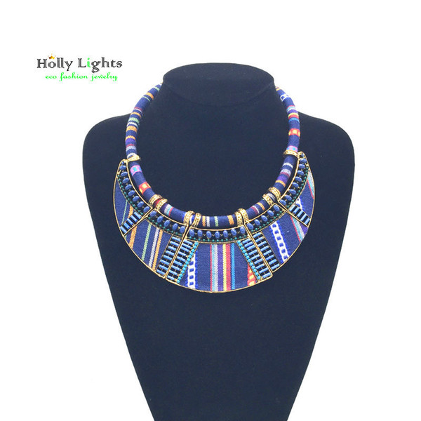 Women Choker Necklace Rope Chain Bohemia Boho Collar Tribal Ethnic Vintage Navy Blue Big Necklace Pendants Jewelry Christmas Gift