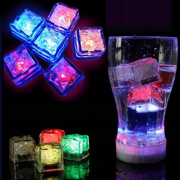 Free shipping Aoto colors Mini Romantic Luminous Cube LED Artificial Ice Cube Flash LED Light Wedding Christmas Decoration Party