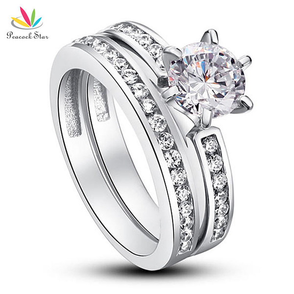 Peacock Star 1 Ct Round Created Diamond Solid 925 Sterling Silver 2-Pcs Wedding Promise Anniversary Engagement Ring Set CFR8014