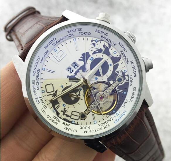 New Natural leather Wrist Watch Men Top Brand Luxury Male Famous Clock Automatic Menchanical Watches Calendar Date Tourbillon Watch Classic