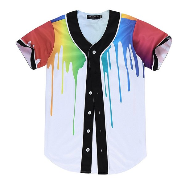 Wholesale- New Brand Unisex Baseball Shirts Mens Button-Down 3D Print Rainbow Jersey Casual V-neck Short Sleeve Fancy Shirts Men XXXL