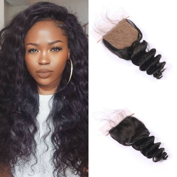 Peruvian Non-remy Human Hair Closures Middle Free 3 Part Loose Wave Silk Base Closure 4x4 FDSHINE