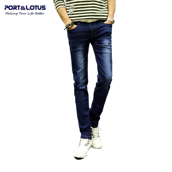 Wholesale-Port&Lotus Fashion Casual Jeans Korean Style With Zipper Fly Solid Color Midweight Pencil Pants Slim Fit Jeans Men wholesale