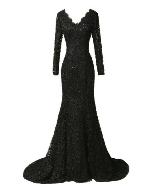 Elegant Long Sleeve Lace Prom Dresses 2017 Black Mermaid Evening Dresses Long Vestidos De Festa Curto