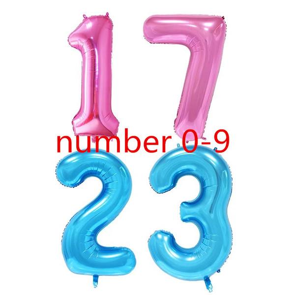 Nouveau 40 '' Slim BluePinkGold Nombre Ballons 40inch 0-9 PinkBlue Foil Balloons Joyeux Anniversaire Décoration Globos Imitation US