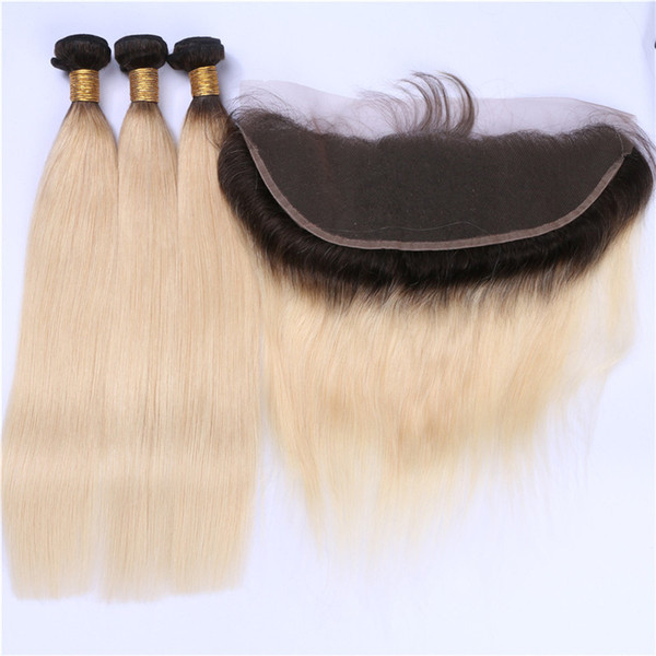 Blonde Ombre 13x4 Lace Frontal Closure With Weaves Silky Straight Two Tone 1B/613 Ombre Peruvian Human Hair 3Bundles With Frontal 4Pcs Lot