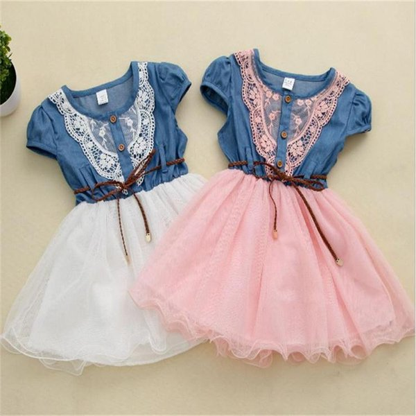 best selling hot sale New girls Denim Net Yarn tutu dresses Girl Sweet ruffule Dress With Belt Short Sleeve Baby Kid's Princess Dress