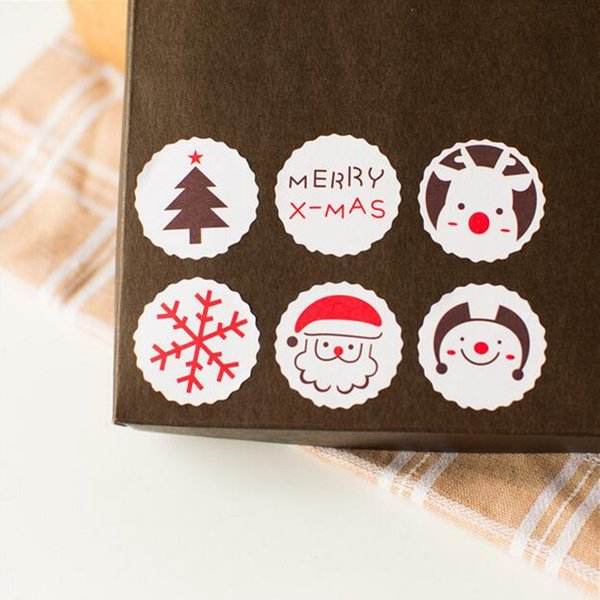 Wholesale-120pcs Merry X'mas Label Cute Sticker Gift Package Sealing Stickers for Cookie Candy Biscuit Package Christmas Tree Snowman Elk