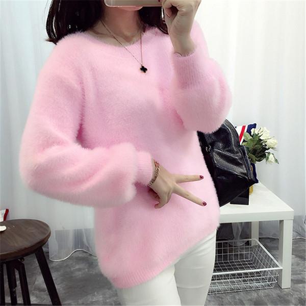 Venta al por mayor-coreano suéteres y suéteres de suéter de cachemira suéteres Otoño invierno de color rosa de mujer de color rosa de punto jerseys