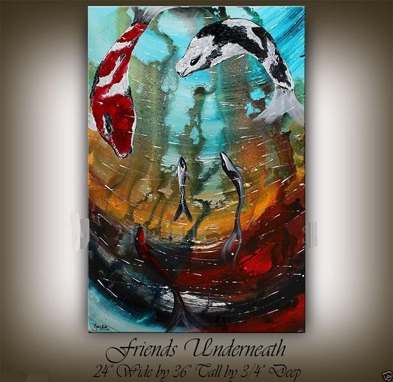 Framed OCEAN ART FISH PAINTING,Handpainted BLUE SEA WORLD ABSTRACT KOI ARTWORK HOME DECOR Art Oil Painting Canvas Multi sizes Ab080