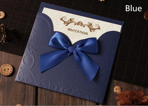 Compre Las Tarjetas De Invitaciones De La Boda Del Corte Del Laser Del Azul Real Oscuro De La Venta Caliente Ahuecan Invitaciones Personalizadas Con