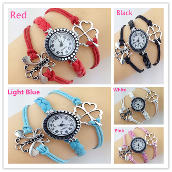 Hot selling 5Colors Infinity DIY Clover Butterfly Watches Weave bracelets Wristwatches for Women.Wrap Leather Wristbands watch Free shipping