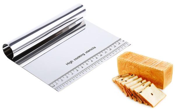 Venta al por mayor de acero inoxidable pizza raspador cortador de pasta fondant herramientas de decoración de la torta accesorios de cocina hornear pasteles espatulas cortadores
