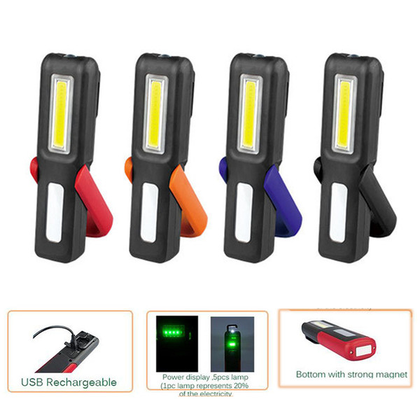 Newest LED Rechargeable Work Light with Power display, Hook, Magnet Stand Portable Light for Working at Night,Camping and Outdoor