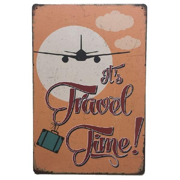 It's travel Time Retro rustic tin metal sign Wall Decor Vintage Tin Poster Cafe Shop Bar home decor