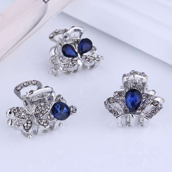Wholesale Small Mini Size Silver Metal Hair Claw Clips with Crystal Rhinestones Girls Womens Cute Hair Jewelry Clamps Hair Pin Accessories