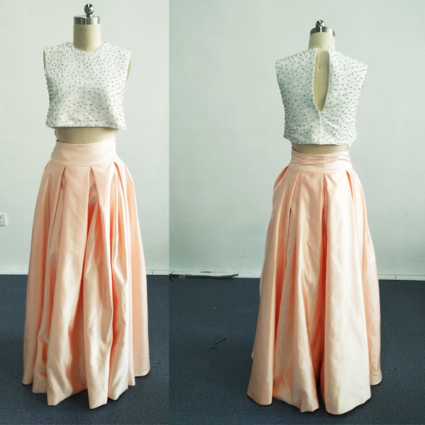 2016 Tutu Beaded Bridesmaid Dresses Two Pieces A-Line Short Sleeve Sweep Train Cheap Simple Formal Prom Gowns Evening Wear Gowns