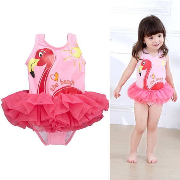best selling Flamingo Baby Girls Bikini Bottoms One-pieces TuTu Princess Dresses Clothing Infant Toddler Kids Pink Swimwear Children Bathing