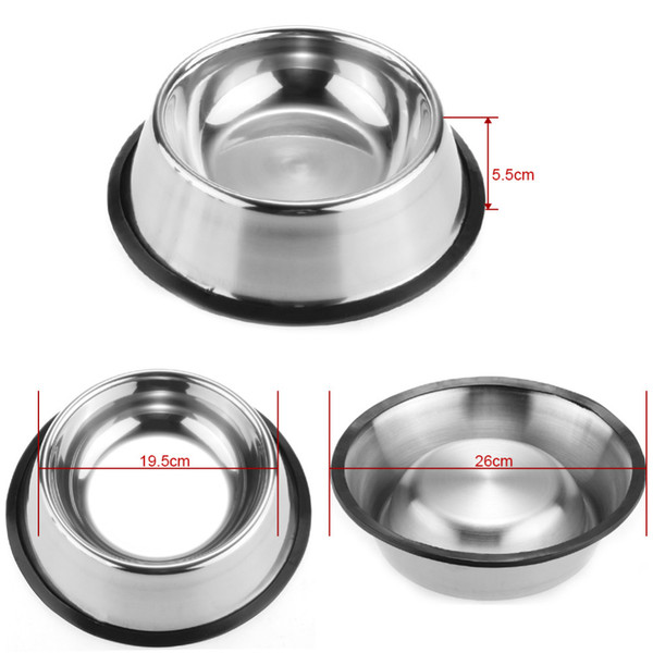 top popular Stainless Dog Bowl Pets Steel Standard Pet Dog bowls Puppy Cat Food or Drink Water Bowl Dish 77 2021