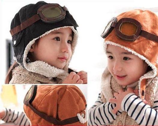 High quality Fashion Caps Hats StyleNew Cute Baby Toddler Boy Girl Kids Pilot Aviator Cap Warm Hats Earflap Beanie Melee