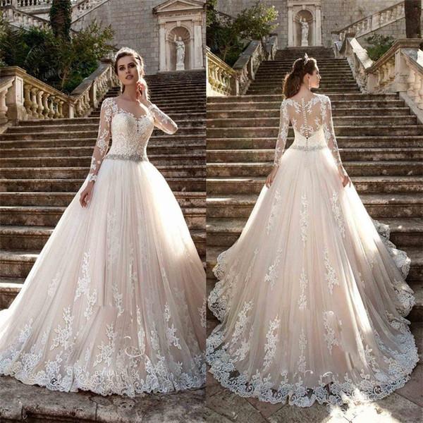 Sheer Crew Neck Sexy See Through Button Back Long Sleeves Appliques New Vintage Cheap Lace Wedding Dresses Vestios De Novia Bridal Gown