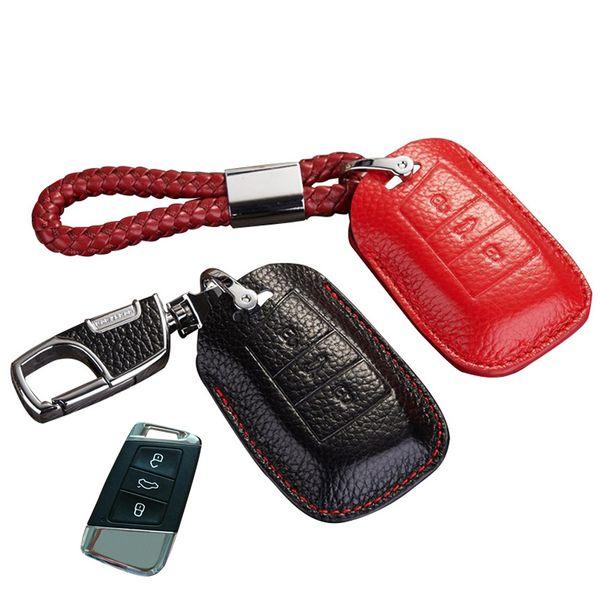 Leather Key Fob Cover For Volkswagen Passat B8 2015 2016 VW Passat Variant B8 Accessories 2017 Magotan Key Holder Case Key COVER