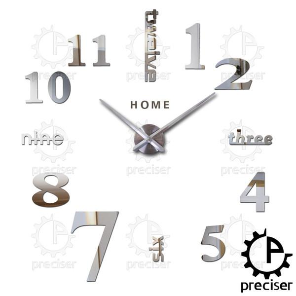 Großhandel-Home Englisch Buchstaben Arabisch Digital Wanduhr Moderne Home Decor Große Diy Uhr Quarz 3D Aufkleber Küche Große Wanduhr