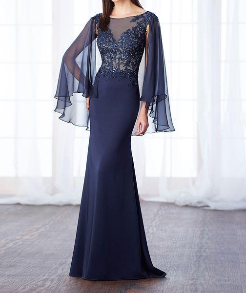 Compre Chique 2017 Bainha Azul Marinho Apliques De Renda Mãe Da Noiva Vestidos Com Cape Mangas Baratos Dreses Desgaste Da Noite Desgaste Do Convidado
