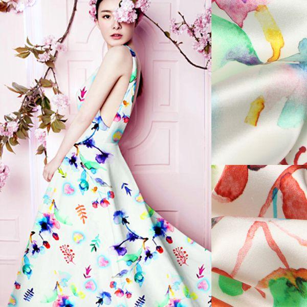 118 см шириной 19 мм 93% шелк 7% спандекс красочные цветочные и фрукты печати стрейч шелк атласная ткань для платье рубашка одежда cheongsam D811