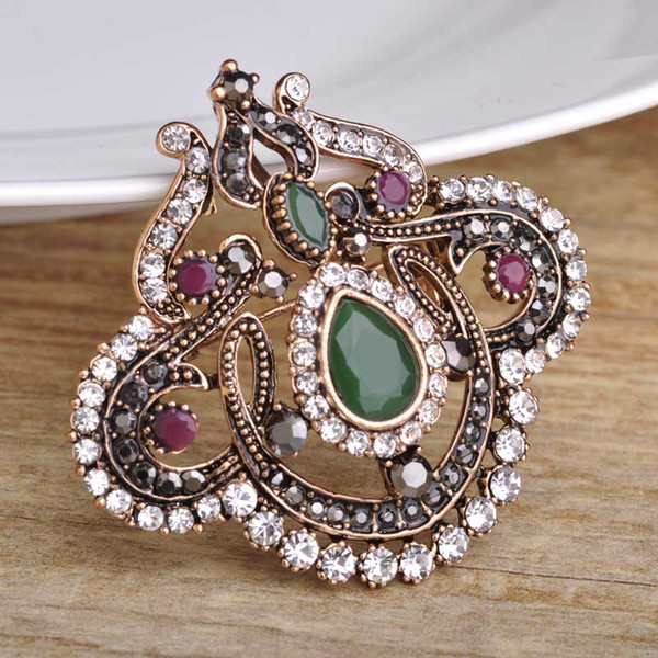 Wholesale- New Design Green Acrylic Brooch Pins Water Drop Flower Women Brooches Antique Gold Crystal Hair Accessories Large Safety Pins
