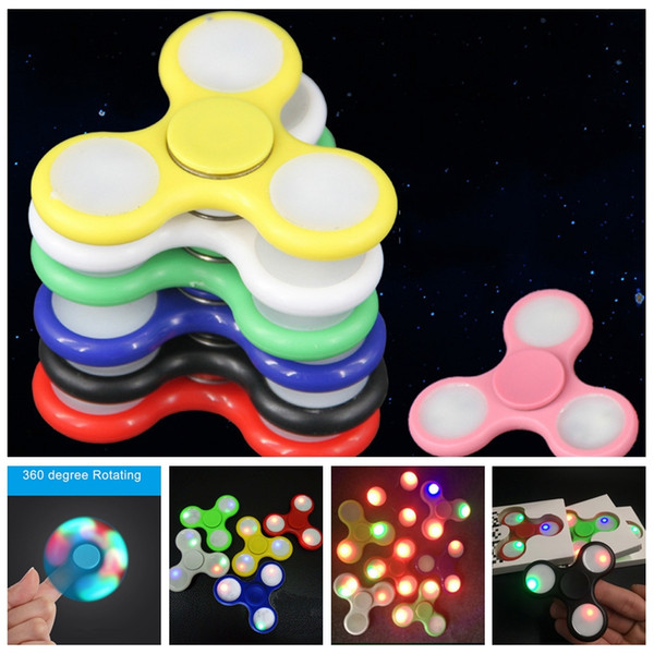 top popular 2017 new Stocks LED Light Hand Spinners Fidget Spinner Triangle Tri Fidget Acrylic Plastic Decompression Fingers Tip Tops Toys 2019
