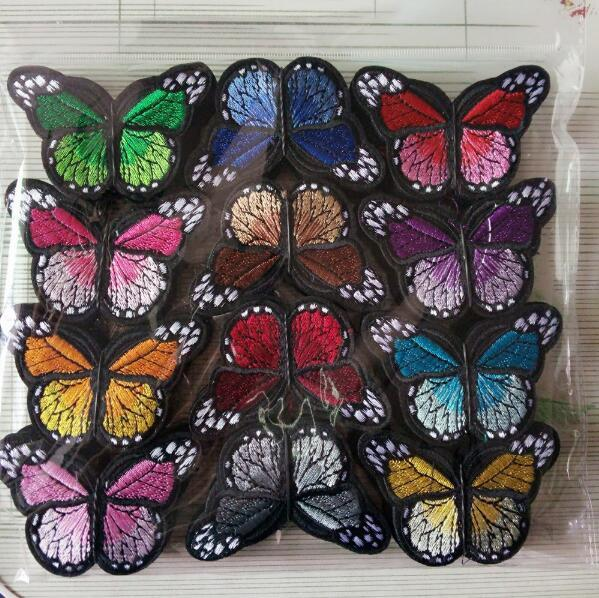 top popular Wholesale Beautiful Butterfly Patches For Clothing Multicolor Embroidery Patch Appliques Badge Stickers For Clothes Diy Fabric Badges 2020